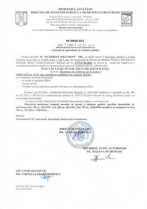 autorizatie dsp servicii deratizare dezinsectie dezinfectie