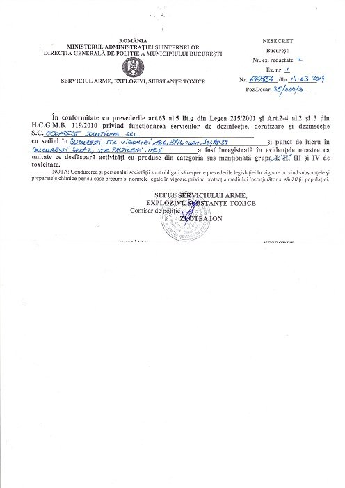 autorizatie politie servicii deratizare dezinsectie dezinfectie