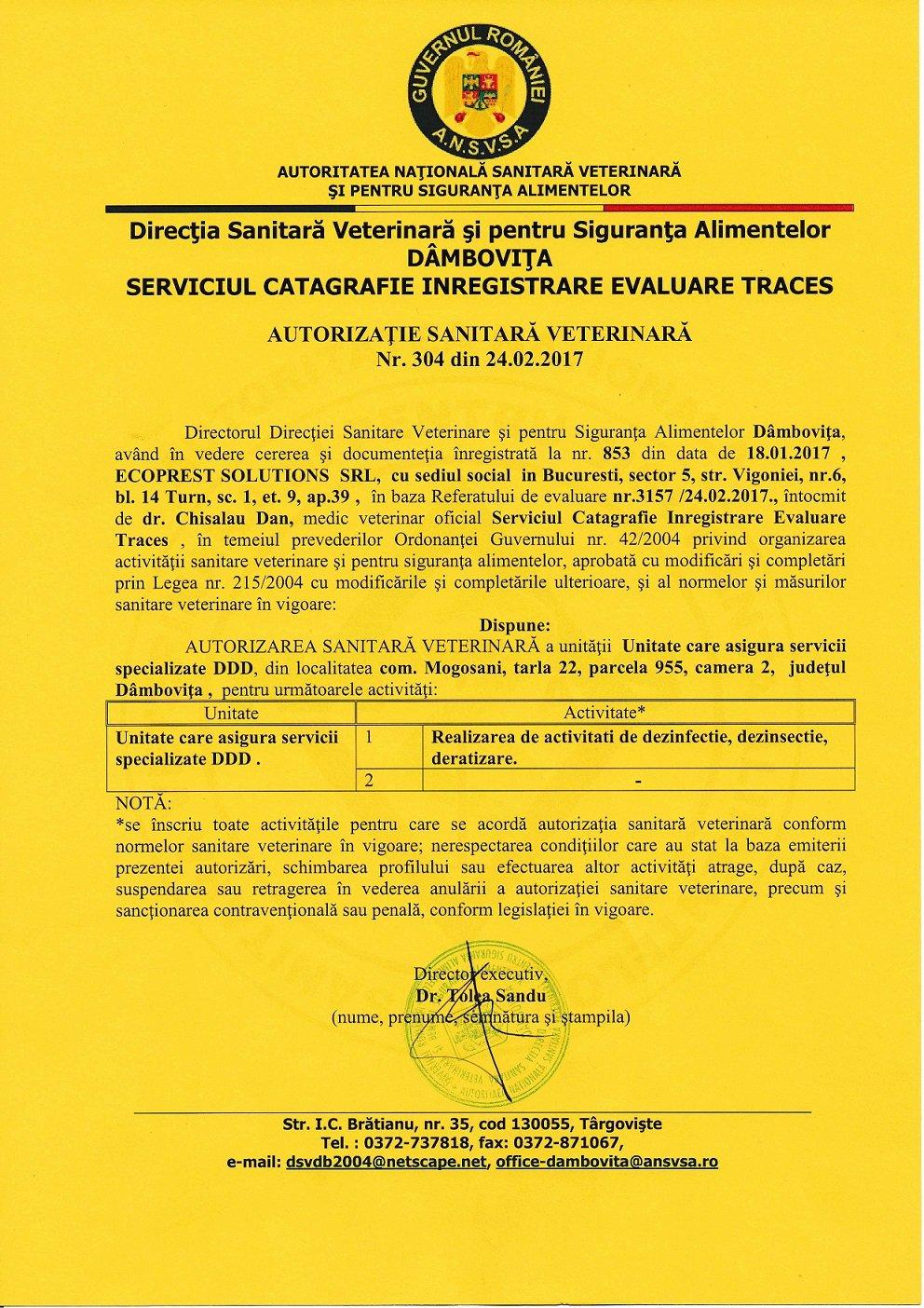 AUTORIZATIE DSV SERVICII DERATIZARE DEZINSECTIE DEZINFECTIE