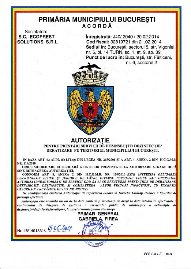 autorizatie pmb servicii deratizare dezinsectie dezinfectie
